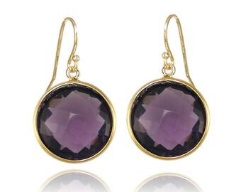 Purple Amethyst earring,  Purple Gemstone earring,  Gold round earring, Birthstone Earring, Silver Bezel set Earring, Bridesmaid Jewelry