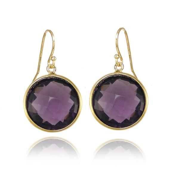 amethyst earrings gemstone earrings gold earrings