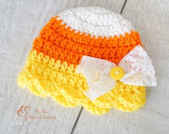 Girl Candy Corn Hat - Baby Candy Corn Hat - Newborn Candy Corn Hat - Crochet Candy Corn Hat - Child Candy Corn Hat