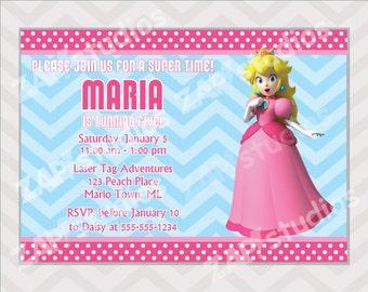 Princess Peach Birthday Invitation - Printable Mario Princess Peach Invitation