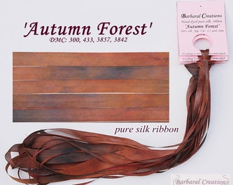 Hand dyed 7 mm wide pure silk ribbon - 'Autumn Forest'