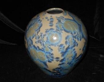 "Crystalline Glaze Porcelain  VASE, Fine Art Pottery,  8 1/2"" X 6 1/2"", Yellow, White, Blue, Blue Violet Crystals, FREE SHIPPING"