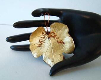 Vintage gold leaf pendant, Fall leaf pendant, autumn leaf charm, autumn leaves jewelry vintage pendants