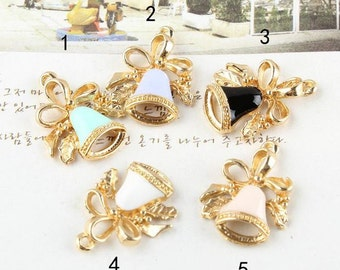 10 pcs of antique gold colorful little bell with ribbon charm pendants 15x20mm