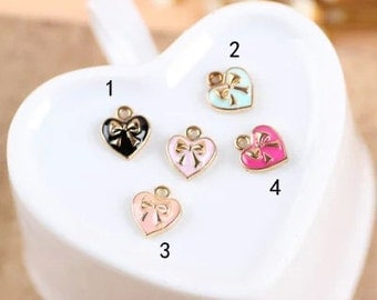 10pc antique gold  color love Heart bowknot Charm Pendants 9x10mm small heart