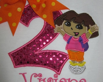 Personalized Dora The Explorer Themed Second Birthday Shirt