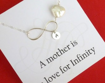 Personalized Mothers Necklace, Infinity Heart Necklace for mom, Mothers Birthday Gift, Mom Wedding Gift, Mothers Initial, Heart Jewelry, Mom