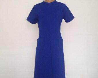 Vintage 60's Handmade Royal Blue Short Sleeve Shift Dress Size M