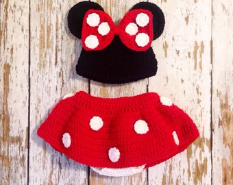 Minnie Mouse crochet hat and diaper cover 0-18 months
