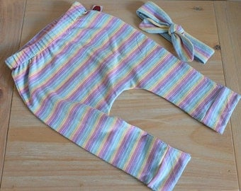 Baby girl leggings pastel stripe with matching headband  fits size 6months+