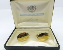 Anson Award Collection Cuff Links, Vintage Gold Tone Cuff Links