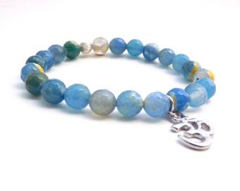 Om Beaded Bracelet, Agate Bracelet, Gemstone Bracelet, Yoga Bracelet, Ohm Bracelet