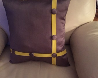 Gray and Yellow Buttoned Pillow