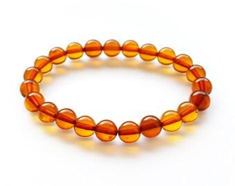 8 mm Baltic amber bracelet. Round amber balls. Natural amber bracelet for women. 4126