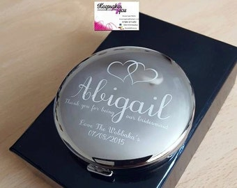 Personalised engraved compact mirror gift - Wedding, Bride, Maid Of Honor, Flower girl etc etc