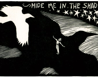HIDE ME - Black and White biblical Verse Illustrated with Bird Flying over a Field.
