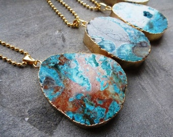 Chain semi-precious stone turquoise / brown marbled