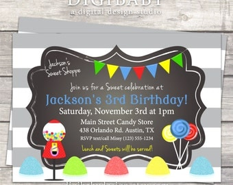 Candy Birthday Invitation boy or girl in grey stripes, bright primary colors and chalkboard, printable digital custom files