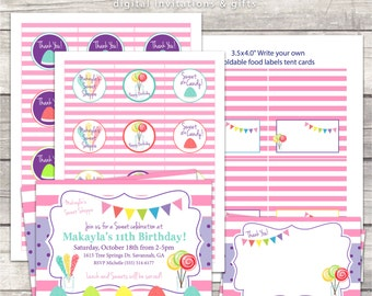 candy birthday pink stripes invitation package, thank you card, cupcake toppers, thank you tags, food labels, custom digital files