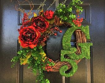 monogram wreath, spring wreath, wreath for spring, fall wreath,  door wreath, wreath for door, moss wreath, summer wreath, wreath