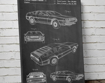 Delorean Patent Canvas Art, Car Canvas, Back to the Future Delorean, Car Art, Canvas Wall Decor, PP0354