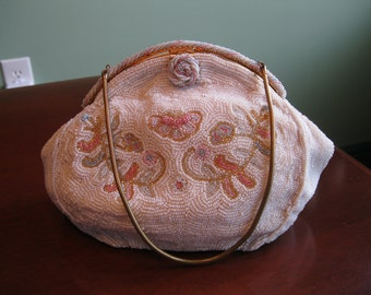 Vintage Beaded BELGIAN White and Pastel Handmade Purse