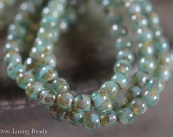 BACK IN STOCK! Jade Harbor (50) - Czech Glass Bead - 3mm - Druk