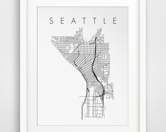 Seattle, Seattle Art, City Map Art, Travel Art, Seattle Decor, Printable Map, Map Art, Map Prints, Washington State, Pacific Northwest