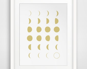 Gold Moon Print, Gold Moon Phases Wall Art, Gold Moon, Gold Moon Art, Gold Nursery, Moon Calendar, Moon Phase, Gold Nursery Decor