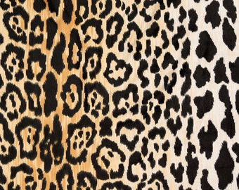 SHIPS SAME DAY - Velvety Cotton Leopard Print Fabric Braemore Jamil Natural Home Decor Fabric - By the Yard