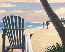 Galveston, Texas - Adirondack Chairs and Sunset (Art Prints available in multiple sizes)