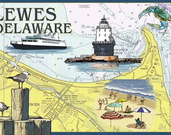 Lewes, Delaware - Nautical Chart (Art Prints available in multiple sizes)