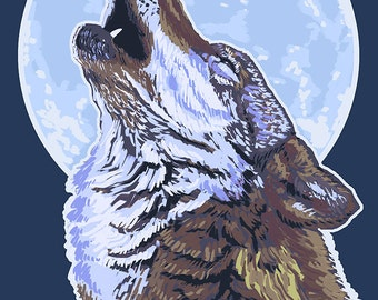 Wolf Howling at Moon (Art Prints available in multiple sizes)