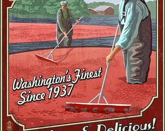 Grayland, Washington - Cranberry Vintage Sign (Art Prints available in multiple sizes)
