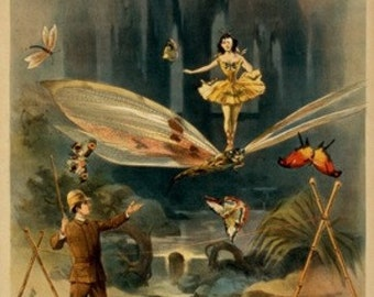 Rossow Midgets, Woman on Dragonfly Theatre Poster (Art Prints available in multiple sizes)