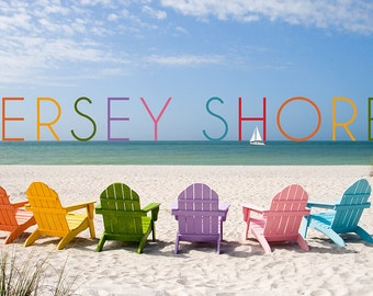 Jersey Shore - Colorful Chairs (Art Prints available in multiple sizes)