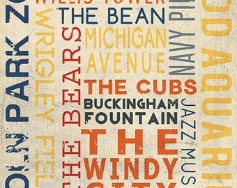 Chicago, Illinois - Typography (Art Prints available in multiple sizes)