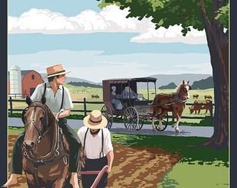 Pennsylvania - Amish Farm Scene (Art Prints available in multiple sizes)