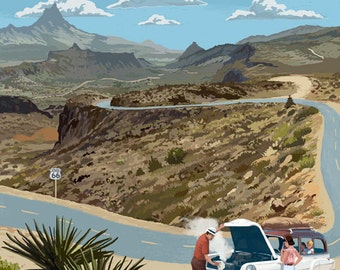Route 66 - Hairpin Breakdown (Art Prints available in multiple sizes)
