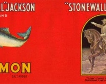 Stonewall Jackson Brand Salmon Label (Art Prints available in multiple sizes)