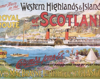 Steamship Royal Route of Scotland - Vintage Poster (Art Prints available in multiple sizes)
