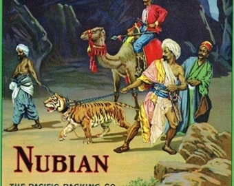 Los Angeles, California - Nubian Brand Citrus Label (Art Prints available in multiple sizes)