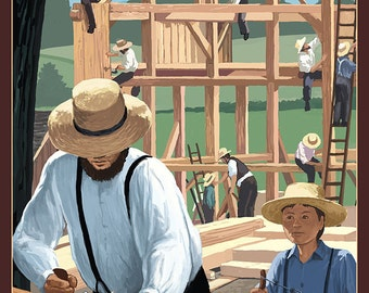 Amish Barnraising Scene (Art Prints available in multiple sizes)