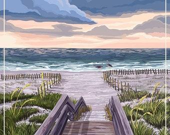 Beachtown - Jekyll Island, Georgia - Beach Boardwalk Scene (Art Prints available in multiple sizes)