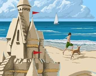 Seal Beach, California - Sand Castle (Art Prints available in multiple sizes)