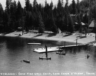Idaho - Lake Coeur d'Alene; Camp Sweyolakan Photograph (Art Prints available in multiple sizes)