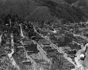 Wallace, Idaho - Aerial View of the Town (Art Prints available in multiple sizes)