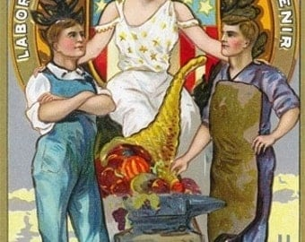 Labor Day Souvenir Laborers with Lady Justice (Art Prints available in multiple sizes)