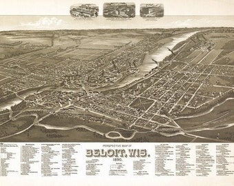 Beloit, Wisconsin - Panoramic Map (Art Prints available in multiple sizes)