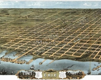 Erie, Pennsylvania - Panoramic Map (Art Prints available in multiple sizes)